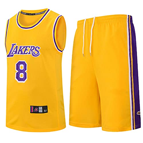 Wsaman Jersey Transpirable y de Secado rápido, Jersey # 8 Baloncesto Jersey Bordado Fan,Hombres Jersey Baloncesto, 8 Camiseta de Jugador de Baloncesto para Hombres,Amarillo,3XL