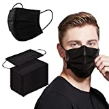 Face Mask 100PCS Adult Black Disposable Masks 3-Layer Filter Protection Breathable Dust Masks with Elastic Ear Loop for Men Women