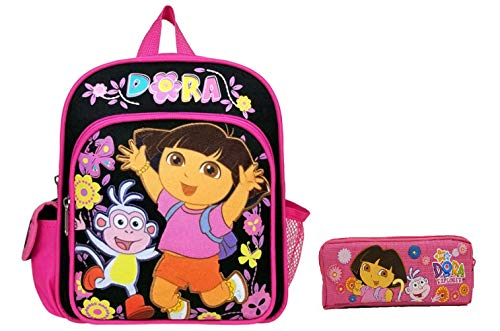 Dora the Explorer Flower Black 10' Mini Toddler Backpack Plus Pencil Case