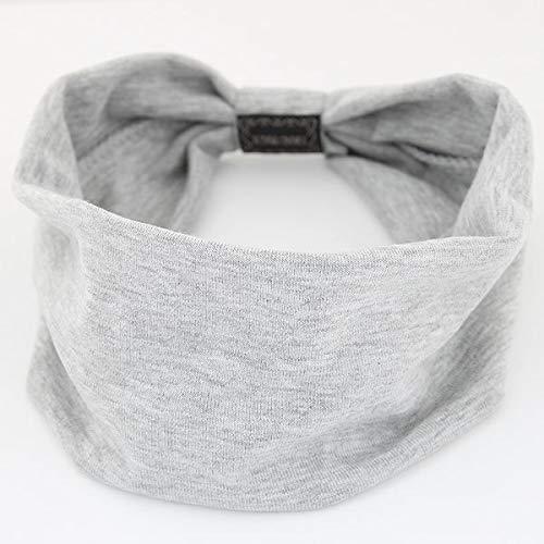 Diadema de algodón Ancha Grande para Mujer Accesorios para el Cabello Diademas de Color sólido de Moda Banda para la Cabeza Suave Coreana Turbante Deportivo para niña - Gris