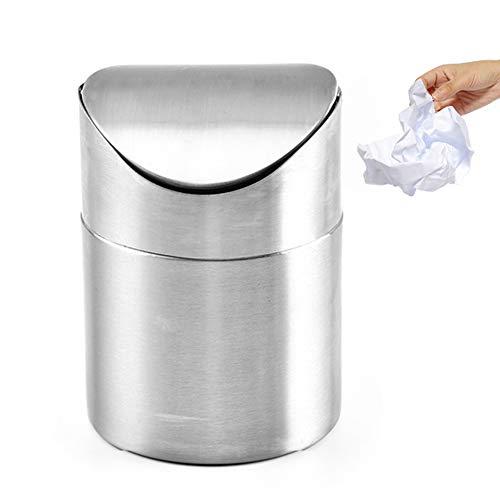 Hinmay Mini Papelera de Escritorio, Papelera con Tapa, 1/2 Cubo de Basura de Metal de Acero Inoxidable, pequeño cubeta de Basura para Oficina, Cuarto de baño, Cocina, Cesta de residuos