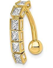 Anillo de oro de 14 quilates con circonita cúbica de imitación de diamante para el ombligo, joyería de regalo para mujeres
