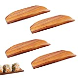 6.6 x 2 Inches Wood Plates Wooden Trays Dinner Plates Rectangle Plates Dish Plate Tea Tray Fruit Trays Storage Tray Steel Towel Tray Dim Sum Plate Sushi Plate for Dishes Snack Dessert,4 Pcs