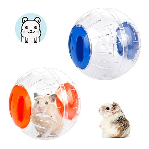Bola para Hámster Bola para Correr para Hámster 2 Piezas Juguete para Hámster Pelota para Correr Pelota para Ejercicios para Hámsters Ratas Jerbos Animales Pequeños Juguetes, Azul y Naranjas