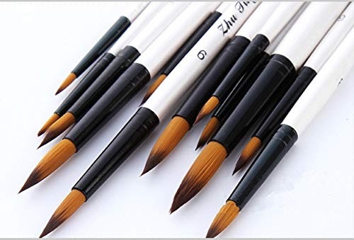 Round Watercolor Detail Paint Brushes Nylon Hair 12pcs for Watercolors,Acrylics,Inks,Gouache,Oil and Tempera (12pcs Pearl White Short Wooden Paint Brush Set)