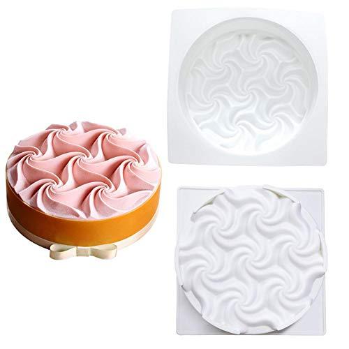 Stampo in silicone per dolci a forma di spirale con fiori e mousse