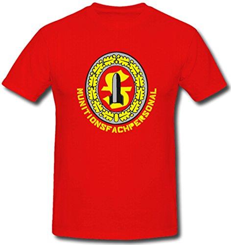 Munitions Fachpersonal Abzeichen Bw Bundeswehr ISAF Kfor Sfor -T Shirt #389, Größe:L, Farbe:Rot