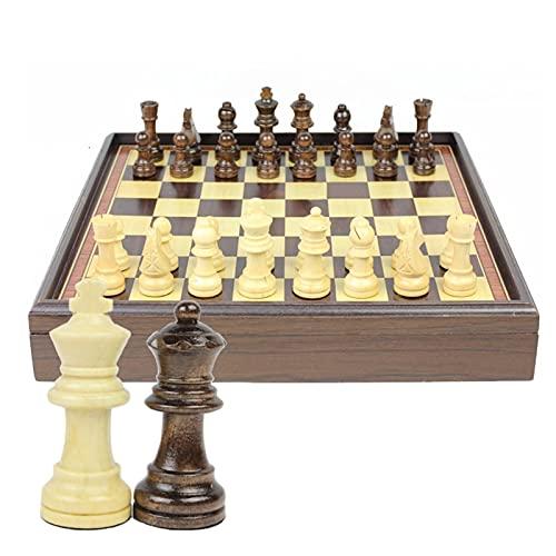 HYAN Juego de ajedrez de Madera Juego portátil de Caja de Madera COLECCIÓN Mesa Ajedrez Internacional Ajedrez para Regalos Infantiles Juegos de Mesa