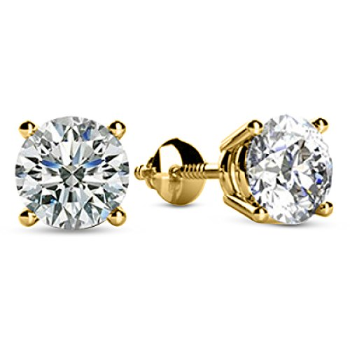 1/3 0.33 Carat Natural Round Brilliant Solitaire Diamond Stud Earrings for Women 14K Yellow Gold 4 Prong Screw Back (I-J Color I1 Clarity)