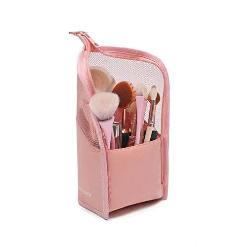 Bolsa de Maquillaje Multifuncional para brochas de Maquillaje, Organizador portátil para brochas de Viaje, Estuche para lápices, Bolsa con Cremallera, para Mujeres y niñas (Pink)