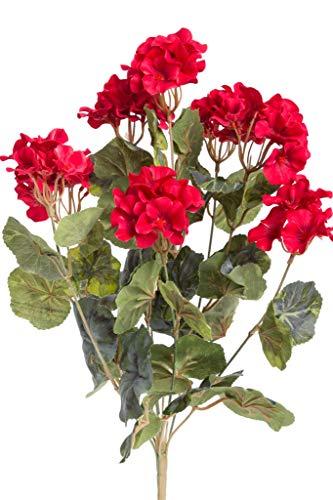 Evergreens künstlicher Geranienbusch groß mit 9 Stielen (rot)