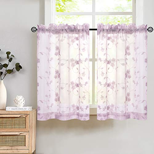 Tier Sheer Curtains Lilac Length Kitchen Curtain Voile Floral Drapery Rod Pocket Top Curtain Panels for Short Basement Window Living Room Bathroom Drapes Window Treatment 45 Inch One Pair
