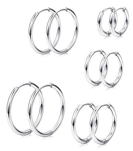 Milacolato 5 Pairs Edelstahl Basic endlose Creolen für Herren Damen Knorpel Piercing Nase Zunge Körper Ring 8-16mm