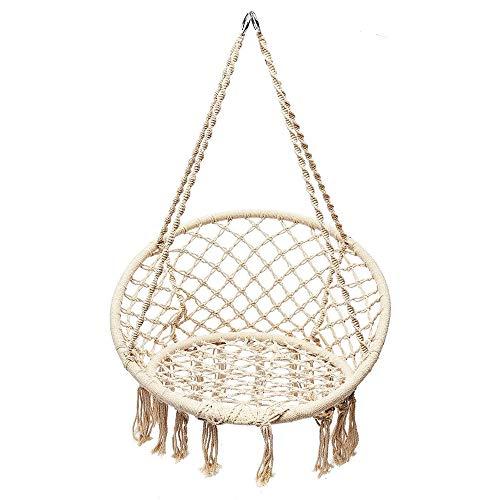 NOBLJX Swing Hammock Chair, sillas de macramé Redondas para Exteriores con Cuerda de algodón Hecha a Mano para la Sala de Estar Interior Patio Porche, balcón, Capacidad de 120KG / 265lbs
