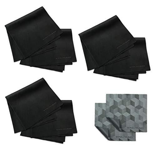POLYCLEAN 6X Brillenputztuch aus Microfaser – Putztücher für Brille, Display und Laptop – Bildschirm Reinigungstuch (35x35 cm, 6 Stück)