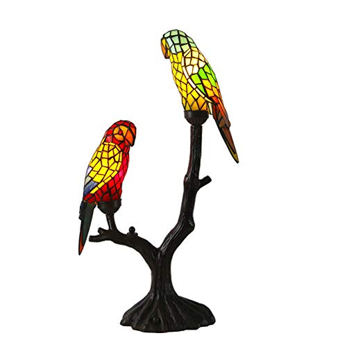 """Tiffany Style Parrots Table Lamps Antique Stained Glass Desk Lamps 2-Light Bedside Lights for Living Room Bedroom Bedside Cafe Bar, 25.5"""" Tall"""