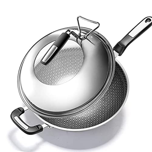 JiangKui Wok for Induction 304 Stainless Steel Wok Non-Stick Frying Pan Uncoated Wok Less Fume Induction Cooker Gas Stove Cookware Free Send Sponge