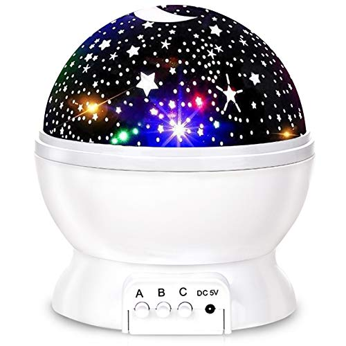 Kids Star Night Light, 360-Degree Rotating Star Projector, Desk Lamp 4 LEDs 8 Colors Changing with USB Cable, Best for Children Baby Bedroom and Party Decorations - White