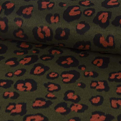 SCHÖNER LEBEN. Bekleidungsstoff Mantelstoff Wolle Leopardenmuster grün rost schwarz 1,5m Breite