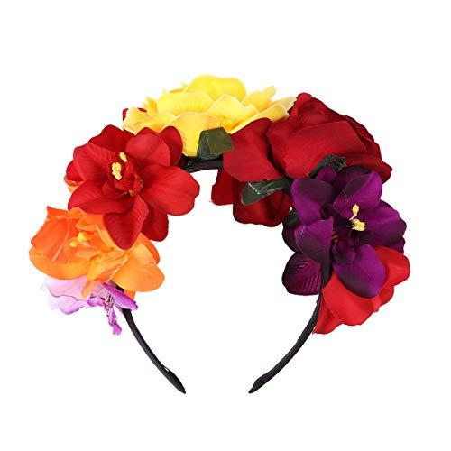 LUOEM Diadema con corona de flores Diadema con flor de rosas Disfraz Corona con flores de rosas para fiesta en la playa Fotografía de vacaciones (Colorido)