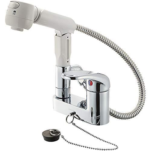SANEI 洗面用 シングルスプレー混合栓 洗髪用 シャワ・泡沫切替え ゴム栓付き K37100VR-13