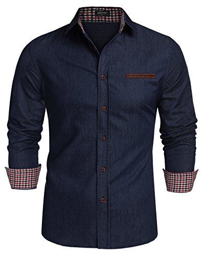 Coofandy Jeanshemden Herren regular fit Denim Shirt Langarmhemd Cowboy-Style Freizeit Hemden , Farbe - Ultramarin , Gr. S