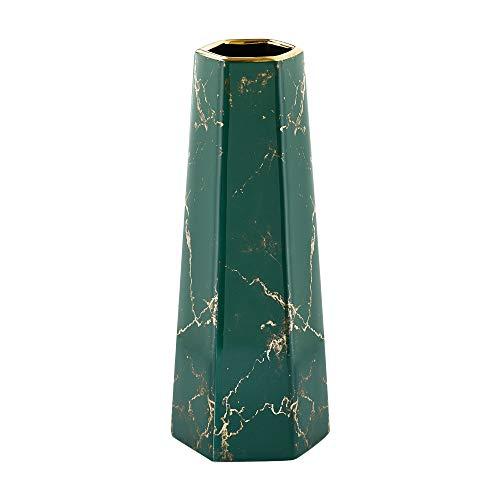 HCHLQLZ 30cm Mármol Verde Dorado Decorativos Modernos Ceramica Jarrones de Flores para Mesa de Comedor Sala de Estar Idea Regalo para Cumpleaños Boda Navidad