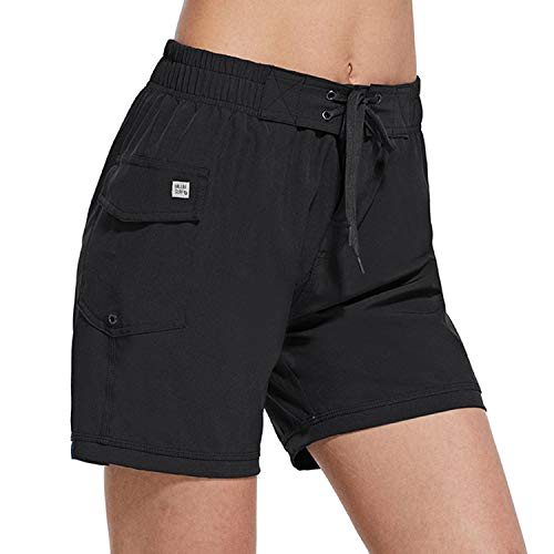 BALEAF Women's High Waisted 5 Inch Board Shorts Quick Dry Swim Bottoms with Pocket Surfing Beach Liner Black X-Large