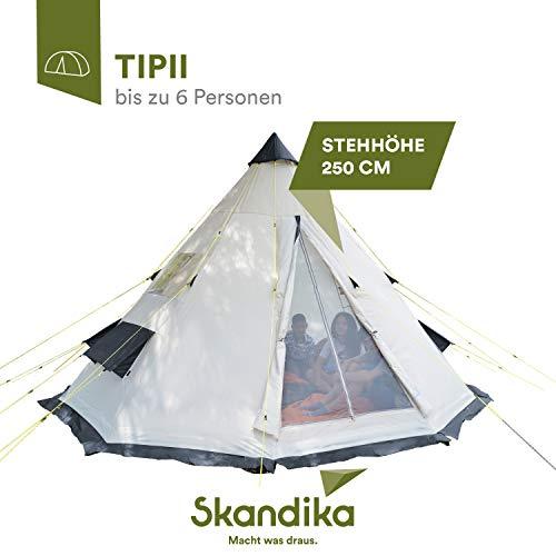 skandika Tipii 6 Personen Festivalzelt Partyzelt Indianerzelt Wigwam | 250 cm Stehhöhe | Insektenfrei durch eingenähten Zeltboden | 3.000 mm Wassersäule