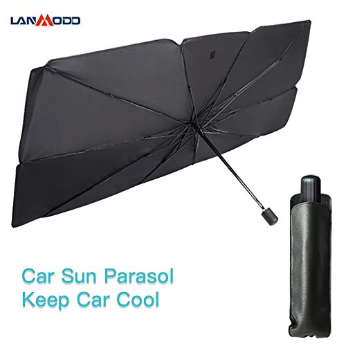 LANMODO Car Sun Shade, Fold-able Automotive Windshield Sunshade Large Enough for Various Cars, Anti-UV & Water-Resistant Portable Car Sun Parasol Protection, Quick to Set Up & Store, 31 x 57 inch