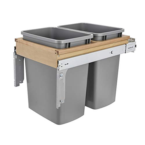 """Rev-A-Shelf 4WCTM-18BBSCDM2 Double 35-Qt Top Mount Pull Out Kitchen Waste Container with Soft Close Slides for 15"""" Wide 1.5"""" Faceframe Cabinet, Silver"""