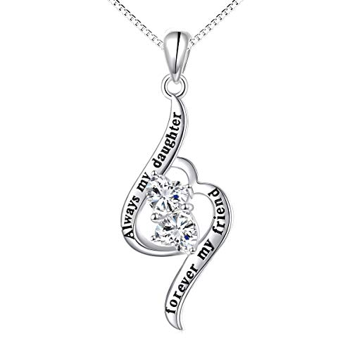 925 Sterling Silver Heart Necklace for Daughter Women Engraved'Always My Daughter, Forever My Friend', Forever Love Pendant Necklaces with Sparkling Cubic Zirconia (Daughter)