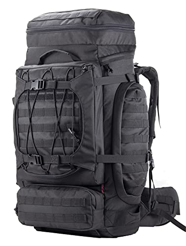 XMILPAX Internal Frame Backpack Military Rucksack Tactical MOLLE Pack for Backpacking Hiking Camping Trekking 80L (Black)
