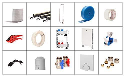 Fußbodenheizung Tackersystem Tackerplatte Selfio Komplettset 100 m² Ausführung: PE-RT Heizrohr, Verteilerschrank Unterputz, Raumthermostat analog