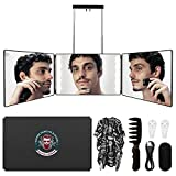 Selfcut 360° Mirror, Trifold 3 Way Mirror for Hair Cutting with LED Lights, Self Haircut System for Haircut, Shaver and Makeup with Height Adjustable Telescoping Hooks