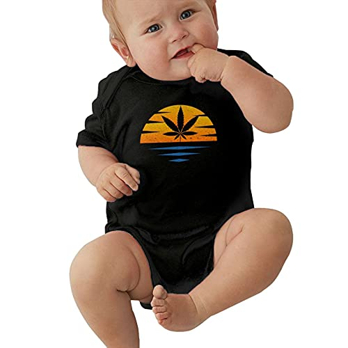 Enterizo de bebé con superficie de mar puesta del sol de arce cannabis hoja de maleza cartel bebé mono bebé niños y niñas niño