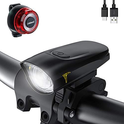 XWYWP Juego de luces de bicicleta 50 Lux USB recargable bicicleta luz Osram LED ultra compacto diseño - Luz lateral para todas las bicicletas