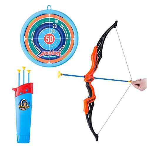 HENG Kinder Bogenschießen Set, Simulation Pfeil und Bogen Spielzeug mit Zielscheibe and 10 Pfeils für Kinder