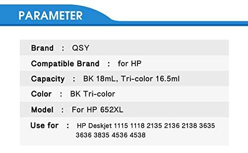 ZITENG CGBH Reemplazo 652XL Cartucho de Tinta for Hp652 aplicable for HP 652 XL aplicable for HP Deskjet 1118 2135 2136 1115 2138 3635 3636 3835 4535 (Color : 2bk)