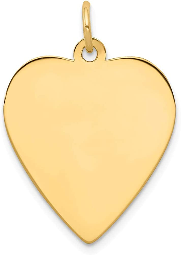 14k Yellow Gold .013 Gauge Engravable Heart Disc Pendant Charm Necklace Simple Shaped Plain Love Fine Jewelry For Women Gifts For Her