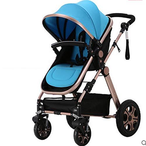 Zhaoronghua Kinderautositz Universal Kinderwagen, Falten Anti Schock Feuerzeug Zertifizierung Multi Funktionen Kombinierter Komfort Regenschutz Versteckte Markise,Blau