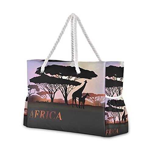Bolsas de playa grandes de lona, bolsa de hombro, 1 Antiguo étnico Egipcio Tribal Arte Africano...