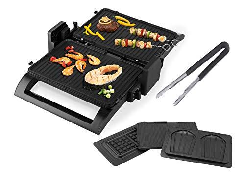 Kontaktgrill mit Grillzange, Tischgrill, Waffeleisen & Sandwichmaker 4in1 auswechselbare Platten, 31,5x21,5cm