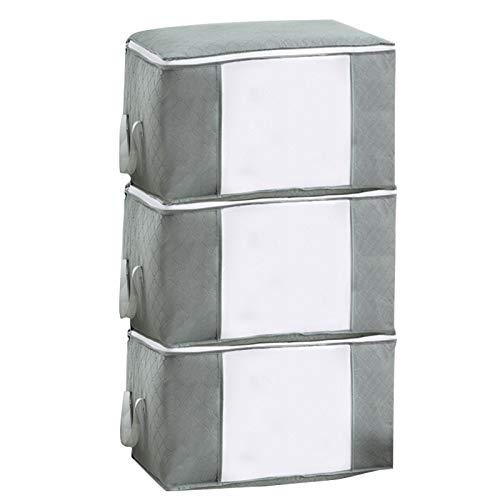 3 PCS Espesar Nuevo Material No Tejido Bolsa de Almacenamiento de Edredón Bolsa de Acabado de Ropa con Ventana Transparente Cremallera (Gris claro(horizontal))