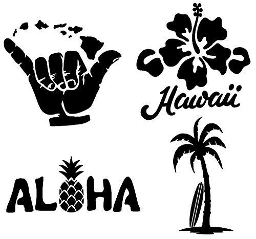 Hawaii-Aufkleber, 4 Stück: Hängen Sie lose Inseln, Hawaii Hibiskus, Aloha Ananas, Palme Surfbrett (schwarz, groß ~ 12,7 cm)
