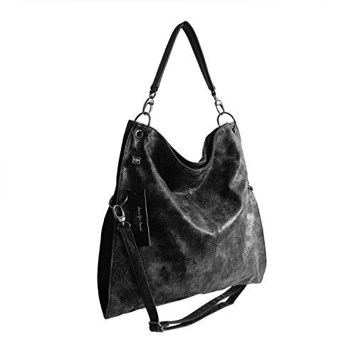 OBC ital-Design Moderne Damen Shopper DIN-A4 Tasche verwandelbar Nieten Beuteltasche Hobo-Bag Schultertasche Clutch Umhängetasche Damenhandtasche Handtasche 38x40x7 cm (BxHxT) (Schwarz (Antik Optik))