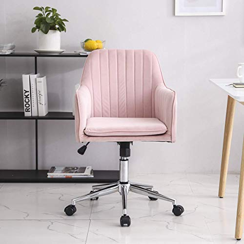 Hironpal Pink Velvet Office Chair Ergonomic Desk Chair Executive Chair Computer Chair for Home Office Reception Chair Adjustable and Reclining 360° Swivel Recliner Chair