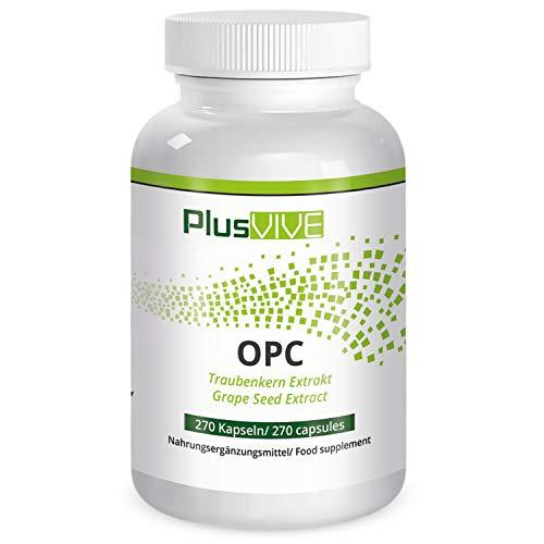 PlusVive - OPC Kapseln - hochdosiert mit 400 mg Traubenkernextrakt pro Kapsel - aus französischen Trauben - 270 vegane Kapseln - Hergestellt in Deutschland