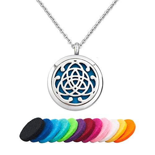 Moonlight Collection Essential Oil Locket Celtic Cross Pendant Aromatherapy Necklace Diffuser (Trinity Knot)