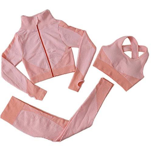 OMMO LEBEINDR 3Pcs Seamless Frauen Yoga-Anzug Langarm Mantel Weste Leggings Fitnessanzug Gym Sportbekleidung Set (Pink, M) ?OPP?
